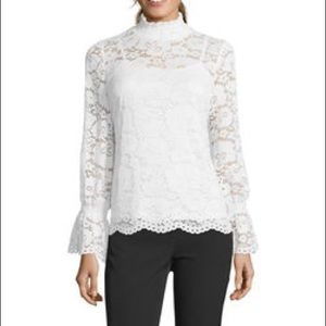 Adrianna Papell Lace Mock Neck Blouse